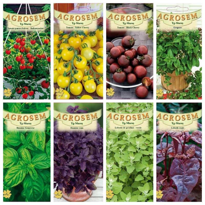 Pachet pentru balcon - seminte de legume, verdeturi si aromatice - 25 plicuri