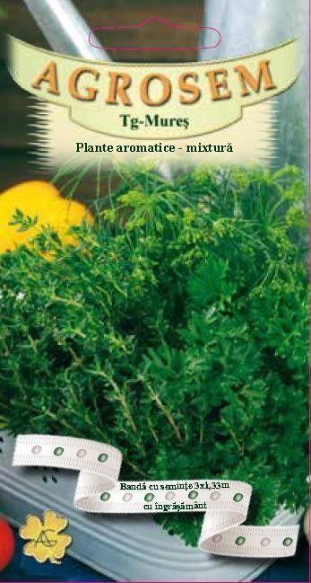 Seminte de Plante aromatice mix de 3 plante pe banda cu ingrasamant - AS