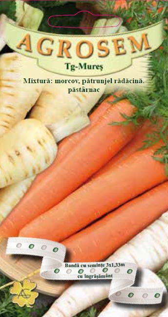 Seminte de Mixtura radacinoase: Morcov, Patrunjel si Pastarnac pe banda cu ingrasamant - AS