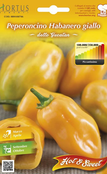 Seminte de Ardei iute Habanero Giallo - HT - Capsicum chinense