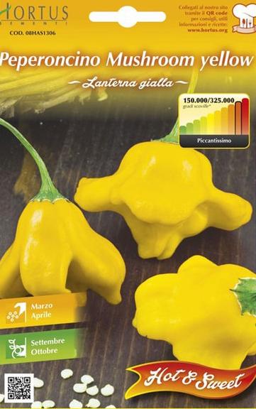 Seminte de Ardei iute Mushroom Yellow - HT - Capsicum chinense