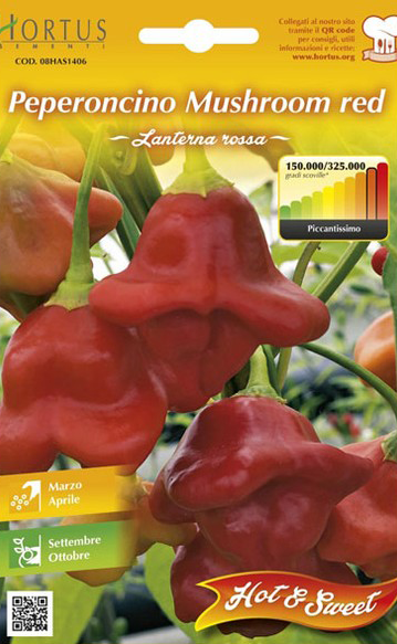 Seminte de Ardei iute Mushroom Red - HT - Capsicum chinense